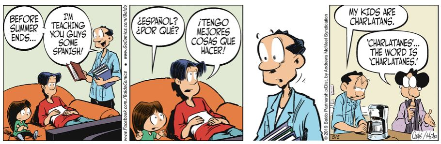 Y ... Cómo se ve la versión española de esta tira.